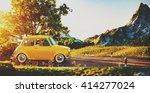 cute little retro car goes by... | Shutterstock . vector #414277024