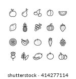 fruits and vegetables outline... | Shutterstock . vector #414277114