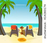 cartoon beachside image.... | Shutterstock .eps vector #414283174