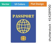 flat design icon of passport...