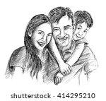 hand sketch of happy family... | Shutterstock .eps vector #414295210
