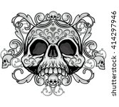 gothic coat of arms with skull  ... | Shutterstock .eps vector #414297946