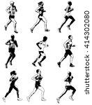 marathon runners illustration   ... | Shutterstock .eps vector #414302080