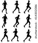 marathon runners silhouettes  ... | Shutterstock .eps vector #414302086