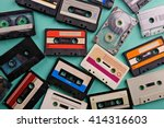 Set of old audio cassettes on...
