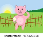 pig and flower | Shutterstock .eps vector #414323818