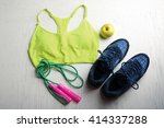 sport clothes and equipment on...   Shutterstock . vector #414337288