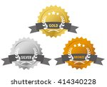 gold  silver and bronze medals... | Shutterstock .eps vector #414340228