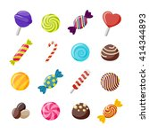 assorted candies decorative... | Shutterstock .eps vector #414344893