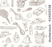 sauna accessories doodle... | Shutterstock .eps vector #414345538