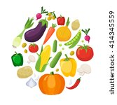 vegetables colored isolated... | Shutterstock .eps vector #414345559