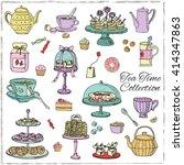 Tea Time  Doodle Set. Sketch....