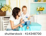 family photo. mother and son 2... | Shutterstock . vector #414348700