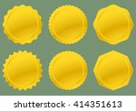 six golden seals ready for text ... | Shutterstock .eps vector #414351613