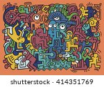 dancing party pattern with... | Shutterstock .eps vector #414351769