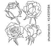 roses  a set of flowers  line... | Shutterstock .eps vector #414359584