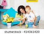 small boy 2 3 years blond hair... | Shutterstock . vector #414361420