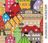 seamless pattern sweden houses... | Shutterstock .eps vector #414365389