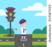 traffic officer cop kid working ... | Shutterstock .eps vector #414367423