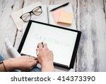 layout sketch on digital tablet
