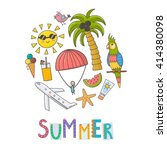 summer time circle shape... | Shutterstock .eps vector #414380098