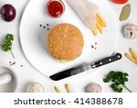 burger topped with vegetables ... | Shutterstock . vector #414388678