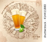 beer round design in outline... | Shutterstock .eps vector #414411880