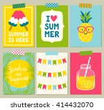 vector set of bright summer... | Shutterstock .eps vector #414432070