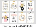 collection of eight gold... | Shutterstock .eps vector #414454186