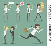 set of businessman in various... | Shutterstock .eps vector #414471910