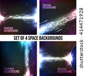 Set Of 4 Cosmic Abstract...