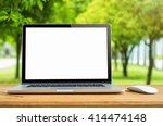 conceptual workspace  laptop...   Shutterstock . vector #414474148