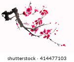 chinese watercolor cherry... | Shutterstock . vector #414477103