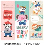 set of birthday cards with cute ... | Shutterstock .eps vector #414477430