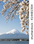 fuji sakura kawaguchiko | Shutterstock . vector #414481504
