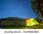camping in forest at night with ...   Shutterstock . vector #414486583