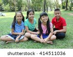 fun in the park  four kids... | Shutterstock . vector #414511036