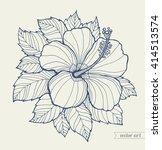 hawaii hibiscus flower  leaf.... | Shutterstock .eps vector #414513574