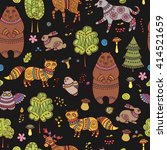 seamless doodle pattern with... | Shutterstock .eps vector #414521659