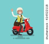 cheerful guy rides a motorbike. ... | Shutterstock .eps vector #414522118