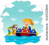 girl riding on rubber boat... | Shutterstock .eps vector #414525844
