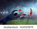 football player kick ball and... | Shutterstock . vector #414529870