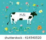 cow and flowers for the milk... | Shutterstock .eps vector #414540520