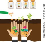 hands holding handful seeds and ... | Shutterstock .eps vector #414541720