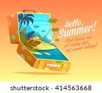 hello  summer  summertime quote.... | Shutterstock .eps vector #414563668