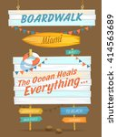 set of wood plank signs and... | Shutterstock .eps vector #414563689