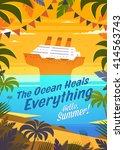 hello  summer  summertime quote.... | Shutterstock .eps vector #414563743
