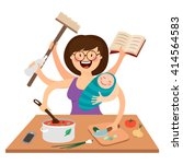 super mother  busy mother ... | Shutterstock .eps vector #414564583