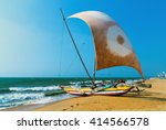 sailboat on the sea coast ... | Shutterstock . vector #414566578