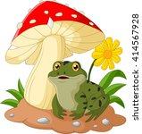 frog cartoon sit under mushroom | Shutterstock . vector #414567928